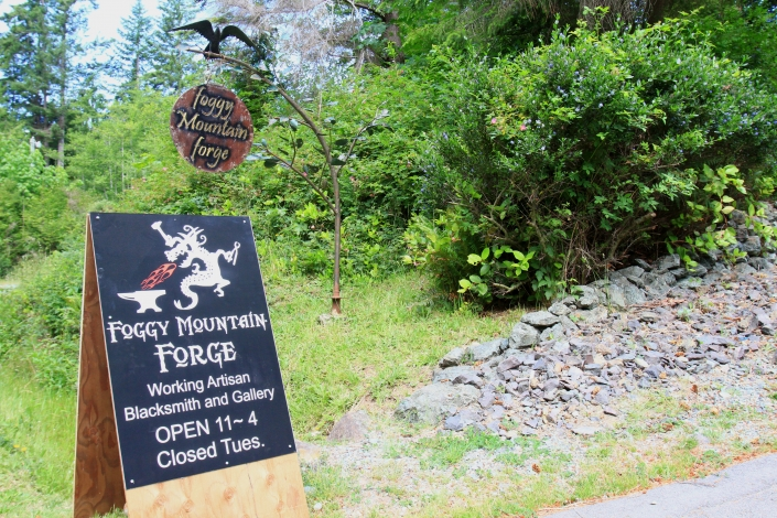 Foggy Mountain Forge sign seen from Highway 14