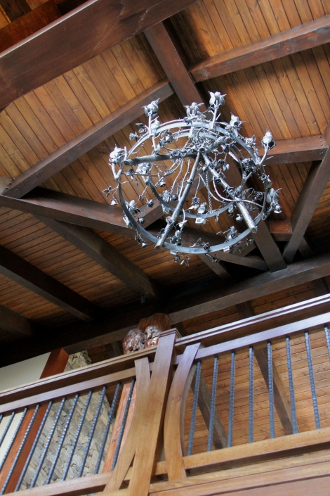 Rose chandelier and railing