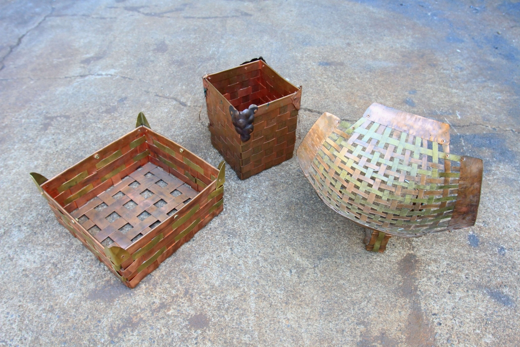 Woven brass and copper baskets