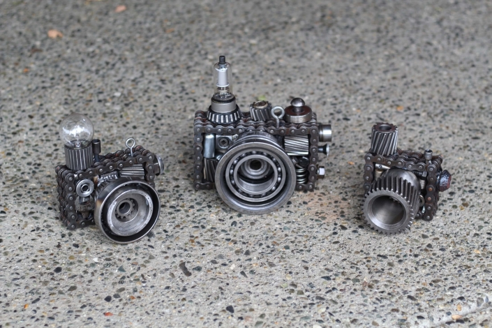 Scrap parts camera sculptures
