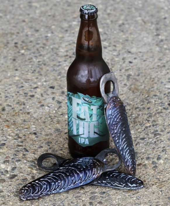 Mussel shell bottle openers