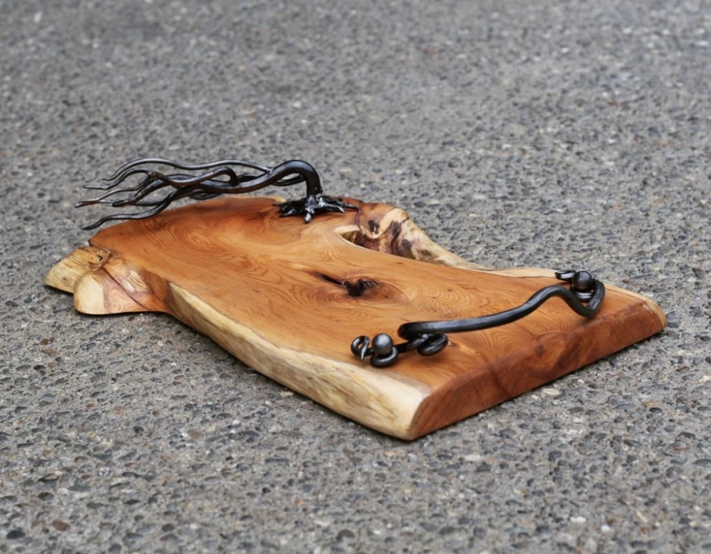 Yew serving tray with forged handle work